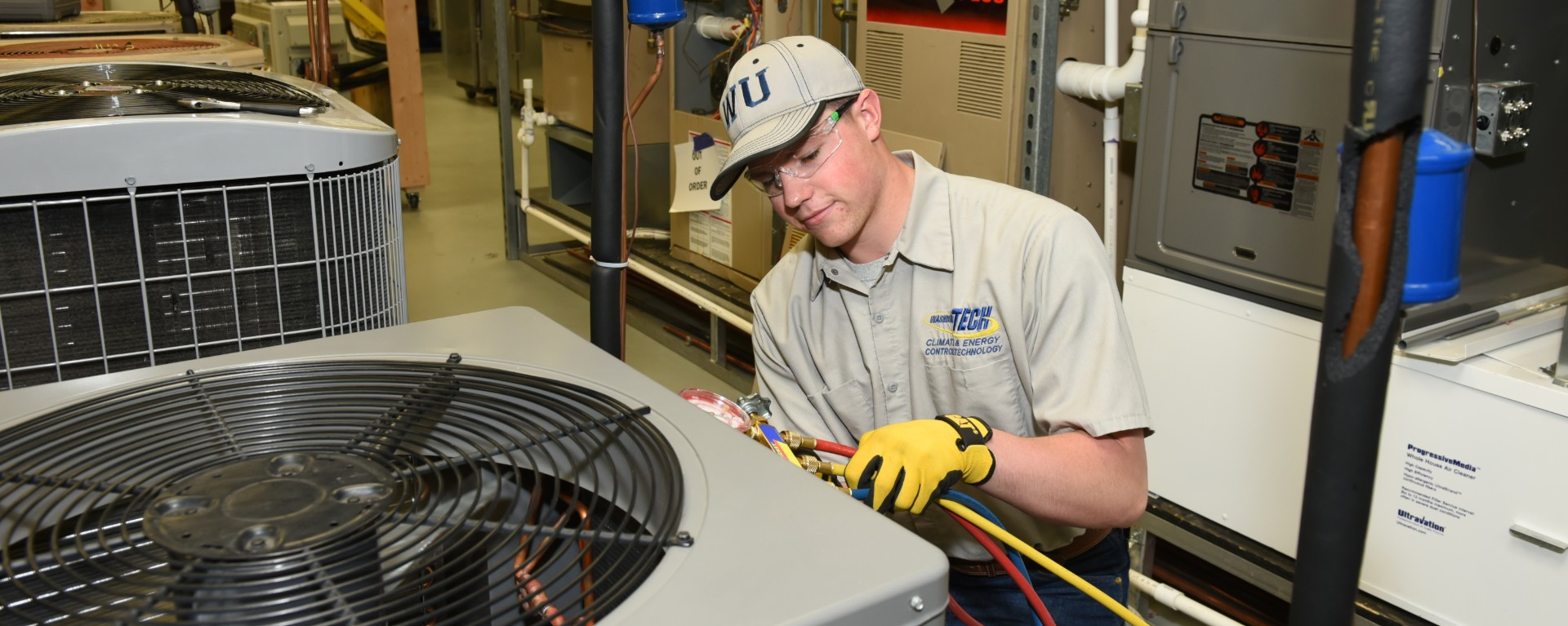 HVAC student in the lab
