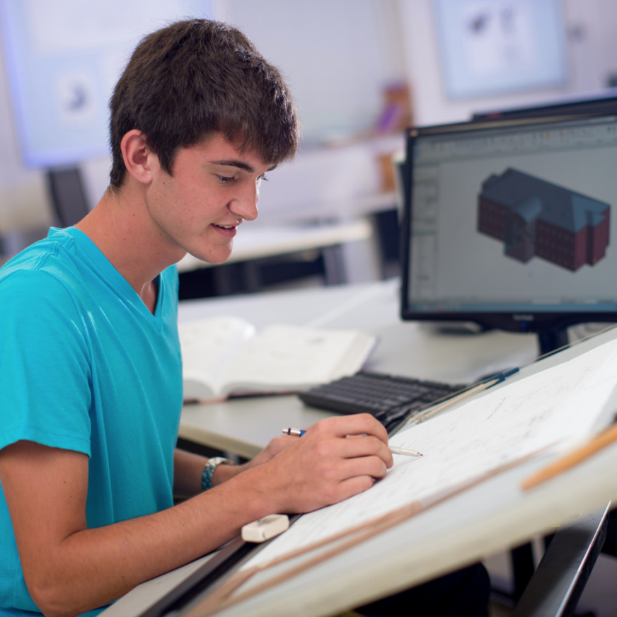 technical drafting student